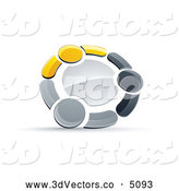 3d Vector Clipart of a Metallic Circle of Three Yellow, Gray and Black People Holding Hands by Beboy