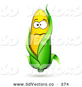 3d Vector Clipart of a Nervous Yellow Ear of Corn on the Cob Character with a Green Husk on White by Beboy
