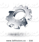January 3rd, 2013: 3d Vector Clipart of a One New Chrome Gear Cog by Beboy