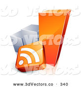 3d Vector Clipart of a Orange and Silver Growing Bar Graph with an RSS Symbol by Beboy