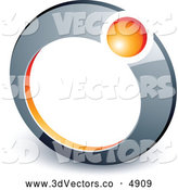 3d Vector Clipart of a Orange Ball in a Silver Ring by Beboy