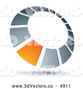 3d Vector Clipart of a Orange Square Set in a Chrome Dial by Beboy