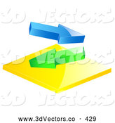 3d Vector Clipart of a Pair of Blue and Green Arrows Flowing in Different Directions by Elaineitalia