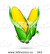 3d Vector Clipart of a Pair of Ears of Corn with Green Husks and a Shadow by Beboy