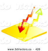 3d Vector Clipart of a Pair of Red and Orange Arrows Flowing up and down by Elaineitalia