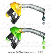 3d Vector Clipart of a Pair of Yellow and Green Gasoline Nozzles with Black and Green Fuel Dripping from the Tips by Beboy
