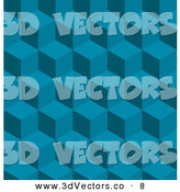 3d Vector Clipart of a Patterned Blue Background of Seamless Tilable Cubes by AtStockIllustration