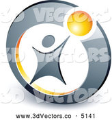 3d Vector Clipart of a Person Reaching up to a Yellow Ball Inside a Circle by Beboy