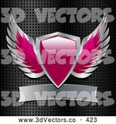 3d Vector Clipart of a Pink and Silver Heraldic Winged Shield with a Blank Banner on a Grid Background by Elaineitalia