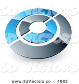 June 3rd, 2013: 3d Vector Clipart of a Pre-Made Logo of a Blue and Orange Target or Circles over White by Beboy