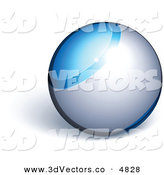 3d Vector Clipart of a Pre-Made Logo of a Blue and Silver Orb on White by Beboy