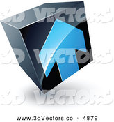June 11th, 2013: 3d Vector Clipart of a Pre-Made Logo of a Blue Arrow Pointing up on a Tilted Black Cube by Beboy