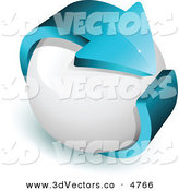 October 12nd, 2012: 3d Vector Clipart of a Pre-Made Logo of a Blue Arrow Wrapped Around a White Sphere by Beboy