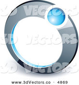 3d Vector Clipart of a Pre-Made Logo of a Blue Ball Completing a Chrome Ring by Beboy