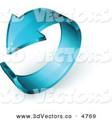 October 18th, 2012: 3d Vector Clipart of a Pre-Made Logo of a Blue Glass Arrow Circling on White by Beboy