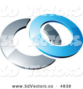 3d Vector Clipart of a Pre-Made Logo of a Blue Shiny 3d Ring over a Chrome Circle on White by Beboy