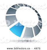 3d Vector Clipart of a Pre-Made Logo of a Blue Square Completing a Chrome Dial by Beboy