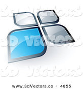 3d Vector Clipart of a Pre-Made Logo of a Blue Square or Petal Standing out from Gray Ones on White by Beboy