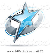 May 28th, 2013: 3d Vector Clipart of a Pre-Made Logo of a Blue Star in a Chrome Circle over White by Beboy