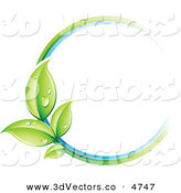 3d Vector Clipart of a Pre-Made Logo of a Circle of Colors and Leaves with Dew Drops by Beboy