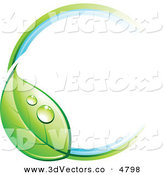 3d Vector Clipart of a Pre-Made Logo of a Circle with a Dewy Green Leaf on White by Beboy