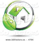 December 7th, 2012: 3d Vector Clipart of a Pre-Made Logo of a Circling Dewy Green Leaf Around a House by Beboy