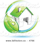 December 9th, 2012: 3d Vector Clipart of a Pre-Made Logo of a Circling Dewy Green Leaf Around a House on White by Beboy