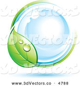 3d Vector Clipart of a Pre-Made Logo of a Dewy Green Leaf Circling a Blue Orb on White by Beboy