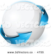 3d Vector Clipart of a Pre-Made Logo of a Double Sided Blue Arrow Circling a Round White Orb by Beboy