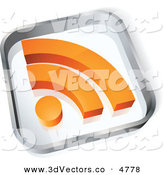 October 25th, 2012: 3d Vector Clipart of a Pre-Made Logo of a Glass Square with an Orange RSS Symbol on a White Background by Beboy