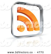 October 19th, 2012: 3d Vector Clipart of a Pre-Made Logo of a Glass Square with an Orange RSS Symbol on White by Beboy