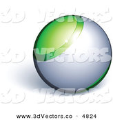 3d Vector Clipart of a Pre-Made Logo of a Green and Silver Sphere by Beboy