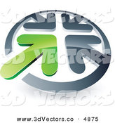 June 8th, 2013: 3d Vector Clipart of a Pre-Made Logo of a Green Arrow Completing a Circle of Chrome Arrows by Beboy