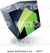 June 6th, 2013: 3d Vector Clipart of a Pre-Made Logo of a Green Arrow Pointing up on a Tilted Black Cube by Beboy
