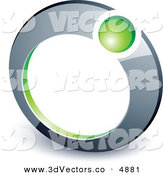3d Vector Clipart of a Pre-Made Logo of a Green Ball Completing a Chrome Ring by Beboy