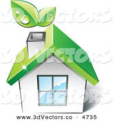 3d Vector Clipart of a Pre-Made Logo of a Green House with Leaves Sprouting from the Chimney by Beboy