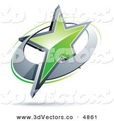 May 30th, 2013: 3d Vector Clipart of a Pre-Made Logo of a Green Shining Star in a Chrome Circle by Beboy
