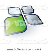 3d Vector Clipart of a Pre-Made Logo of a Green Square or Petal Standing out from Gray Ones on White by Beboy