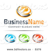 3d Vector Clipart of a Pre-Made Logo of a Group of Orange and Chrome Power Button, Blue Green and Red Buttons Also Included, with Space for a Business Name and Company Slogan Below by Beboy