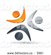 3d Vector Clipart of a Pre-Made Logo of a Group of Three Orange, Chrome and Black People Celebrating or Dancing by Beboy