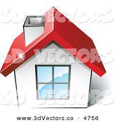 3d Vector Clipart of a Pre-Made Logo of a Home with a Red Roof by Beboy