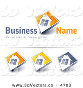 3d Vector Clipart of a Pre-Made Logo of a Large Window on a Home with an Orange Background and Space for a Business Name and Company Slogan on White by Beboy