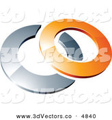 3d Vector Clipart of a Pre-Made Logo of a Orange Shiny 3d Ring over a Silver Circle by Beboy