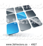 3d Vector Clipart of a Pre-Made Logo of a Pair of Blue Tiles Standing out from Rows of Silver Tiles by Beboy
