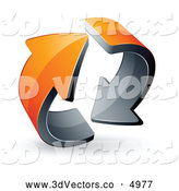 3d Vector Clipart of a Pre-Made Logo of a Pair of Circling Orange Arrows by Beboy