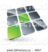 3d Vector Clipart of a Pre-Made Logo of a Pair of Green Tiles Standing out from Rows of Silver Tiles by Beboy