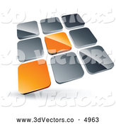 3d Vector Clipart of a Pre-Made Logo of a Pair of Orange Tiles Standing out from Rows of Silver Tiles by Beboy