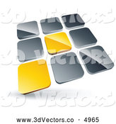 3d Vector Clipart of a Pre-Made Logo of a Pair of Yellow Tiles Standing out from Rows of Silver Tiles by Beboy