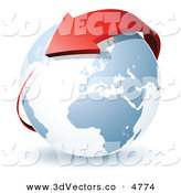3d Vector Clipart of a Pre-Made Logo of a Red Arrow Circling Around Planet Earth by Beboy
