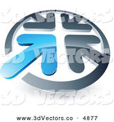 June 10th, 2013: 3d Vector Clipart of a Pre-Made Logo of a Shiny Blue Arrow Standing out in a Circle of Chrome Arrows by Beboy
